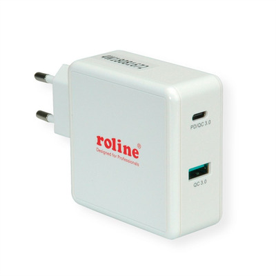 ROLINE USB Wall Charger Euro Plug, 2 Ports, 1x QC3.0 + 1x C (PD), 49.5W Oplader - Grijs