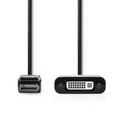 Nedis DisplayPort - DVI-kabel, DisplayPort male - DVI-D 24+1-pins female, 0,2 m, Zwart