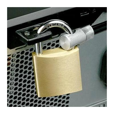 Maclocks hangslot: Brass Padlock w/ 6 ft. high security steel cable Anchor Point, Adhesive & Screws - Geelkoper