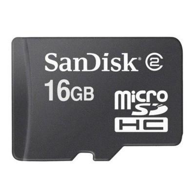 Sandisk flashgeheugen: MicroSDHC 16GB Class 2 - Zwart
