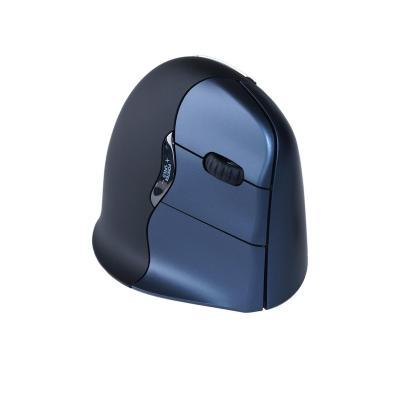 R-go tools computermuis: VerticalMouse 4 Wireless - Medium/Large - Rechtshandig - Zwart, Blauw