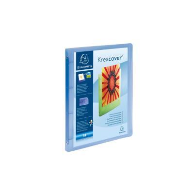Exacompta ringband: Ordner 4 ringen 15mm polypropyleen chromaline 5/10de Krea Cover - A4 - Blauw, Transparant