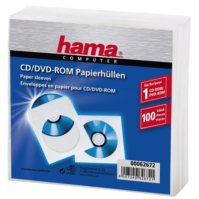 Hama CD/DVD Paper Sleeves, pack of 100, White - Wit