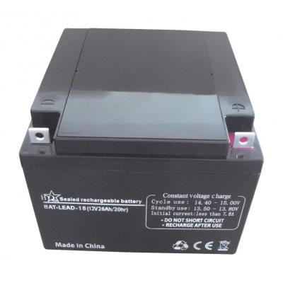 Hq batterij: Lead acid battery 12 V 26 Ah - Zwart