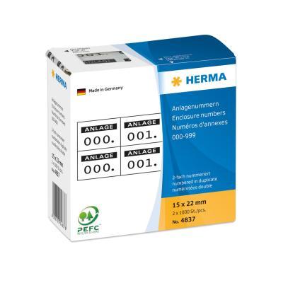 Herma etiket: Enclosure numbers self-adhesive 2 labels printed in row 15x22 mm black printed, 0-999 - Zwart