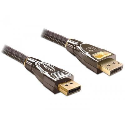 DeLOCK Cable Displayport male > male 1 m PREMIUM - Zwart,Bruin
