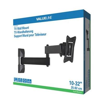 "Valueline montagehaak: Tv wall mount full motion 3-way 10-32"" / 25-82 cm 30 kg - Zwart"