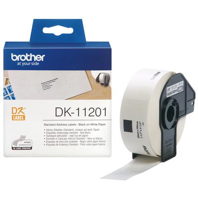 Brother labelprinter tape: Standaard adreslabels papier 29 x 90 mm - Zwart, Wit
