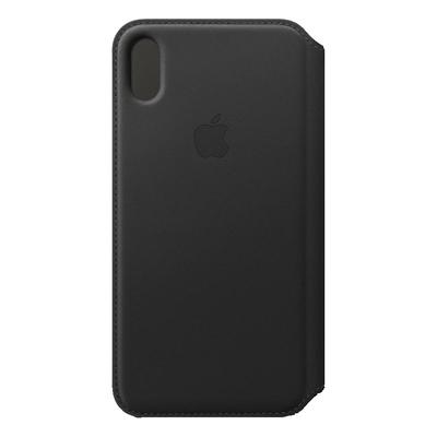 Apple mobile phone case: Leren Folio-hoesje voor iPhone XS Max - Zwart