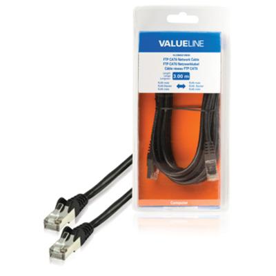 Valueline FTP CAT6 RJ45 mannelijk - RJ45 mannelijk 3.00 m zwart Netwerkkabel