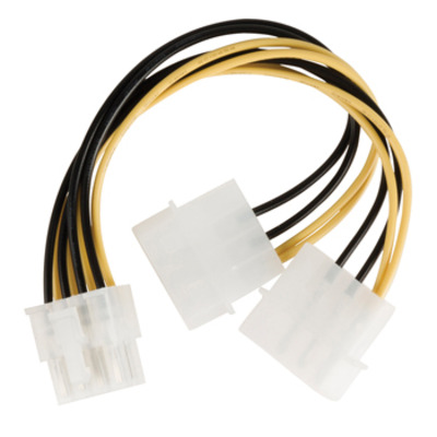 Valueline EPS 8-pin/2x Molex, 0.15m - Multi kleuren