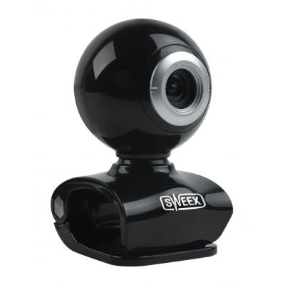 "Sweex webcam: 0.3 MP, 640 x 480, 30 fps, 1/7"" CMOS, USB 2.0, Black - Zwart"