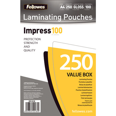 Fellowes laminatorhoes: 100 micron lamineerhoes glanzend A4 250 pak - Wit