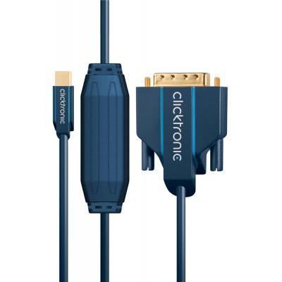ClickTronic Mini DisplayPort/DVI adapter cable, 3m - Blauw