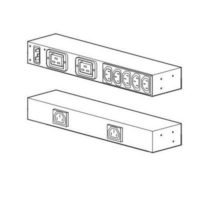 Apc energiedistributie: Rack PDU, Basic, 0U/1U, 100-240V/20A, 220-240V/16A, (7) C13, (2) C19, Black - Zwart