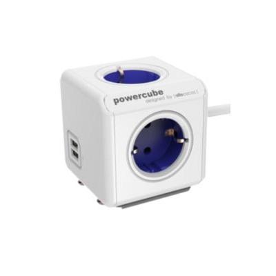 Allocacoc PowerCube Extended USB, Type F, 1.5m, blue Stekkerdoos - Blauw, Wit
