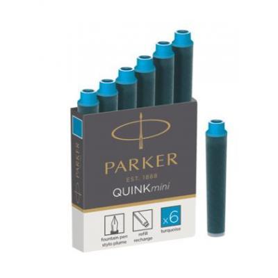 Parker inkt: QUINK MINI CARTRIDGE, TURQUOISE - Zwart