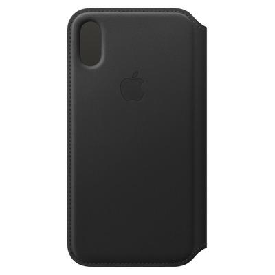 Apple mobile phone case: Leren Folio-hoesje voor iPhone XS - Zwart