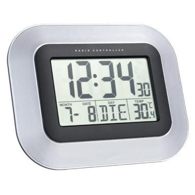 Technoline wekker: WS 8005 Radio controlled wall clock - Zwart, Zilver