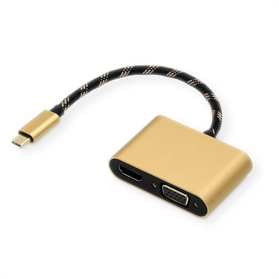 ROLINE Type C - HDMI/VGA Adapter, M/F, 0.1 m, Aluminium, Black/Gold Hub - Zwart,Goud
