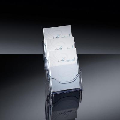 Sigel ordner: Tafelstandaard voor folders acrylic, met 3 vakken, glashelder, voor A5 - Transparant