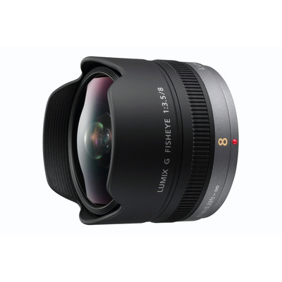 Panasonic H-F008E, f=8mm, F3.5, 180° Camera lens - Zwart
