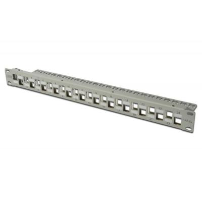 Digitus patch panel: Modular Patch Panel. shielded, 24-port staggared - Grijs