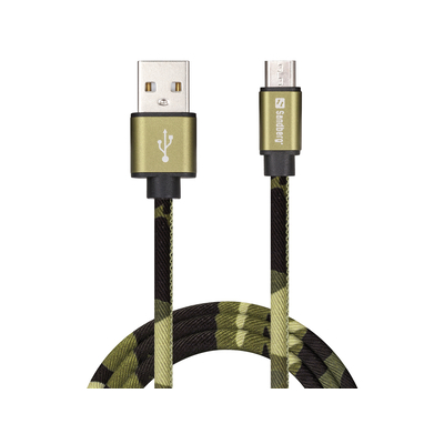 Sandberg MicroUSB Green Camouflage 1m USB kabel