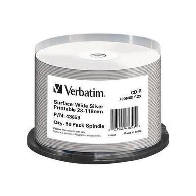 Verbatim CD-R Wide Silver Inkjet Printable No ID Brand CD