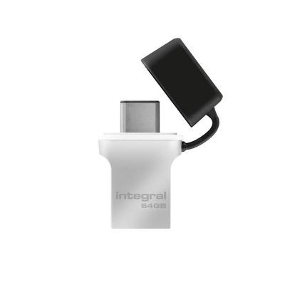 Integral FUSION 3.0 TYPE-C USB flash drive - Zwart, Zilver