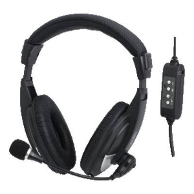 LogiLink USB Stereo, black Headset - Zwart