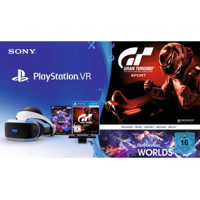 Sony virtual reality bril: PlayStation VR + PS Camera + PS VR Worlds + GT Sport - Zwart, Wit