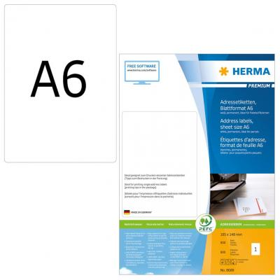 Herma adreslabel: Address labels Premium sheetsize A6 105x148 mm white paper matt 800 pcs. - Wit