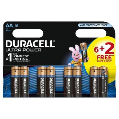 Duracell Ultra Power alkaline AA-batterijen, verpakking van 8 batterij