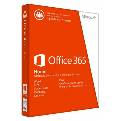 Microsoft software suite: Office 365 Home voor 5 pc's of Macs, 5 tablets en 5 smartphones Nederlandstalig