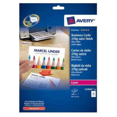 Avery visitiekaart: Visitekaartjes, gladde rand, Kleurenlaser printer, Kopieerapparaat, ZW/W Laser printer, 270 g
