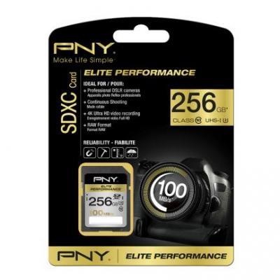 PNY 256GB SDXC class 10 Flashgeheugen - Zwart
