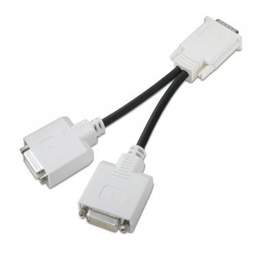 Hp : DMS59 DVI-aansluitkabel met twee connectoren - Zwart, Wit