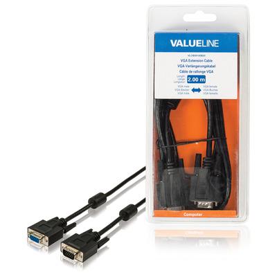 Valueline VGA-verlengkabel VGA mannelijk - VGA vrouwelijk 2.00 m zwart