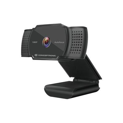 "Conceptronic 1080P FHD, 1/4"" CMOS, f= 2.7mm, 30fps, MJPEG/YUY2, USB-A, DC 5V, 1.5 m, Black Webcam - Zwart"
