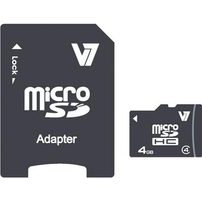 V7 4GB Micro SDHC Card Class 4 + Adapter Flashgeheugen - Zwart