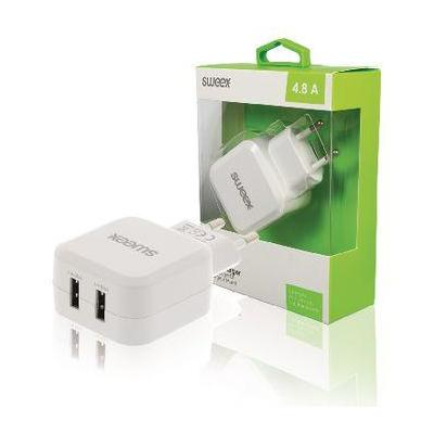 Sweex Wall Charger 2-Outputs 4.8 A 2x USB White Oplader