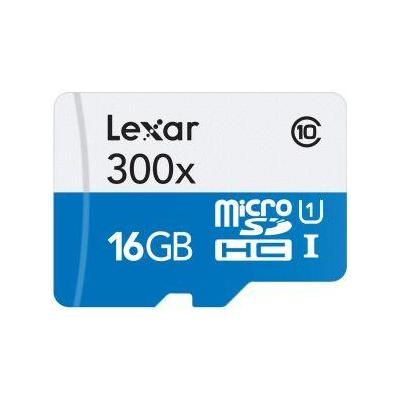 Lexar flashgeheugen: 16GB microSDHC UHS-I - Blauw, Wit