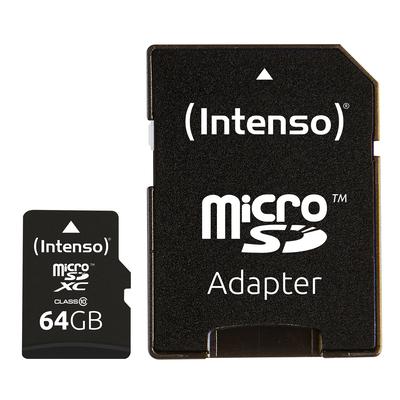Intenso 64GB MicroSDHC Flashgeheugen - Zwart