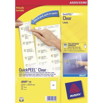 Avery etiket: Adresetiketten, Inkjet, Transparant, 25pcs.