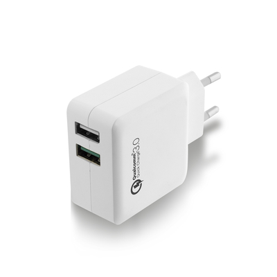 Ewent oplader: 2-Poorts USB Lader 4A met Quick Charge 3.0 - Wit