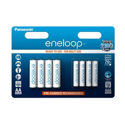 Sanyo batterij: eneloop 4xAA 1900 mAh +4xAAA 750 mAh mixed pack - Wit