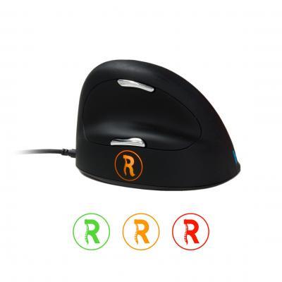 R-go tools computermuis: HE Mouse Break USB - Large - Rechtshandig - Zwart, Zilver