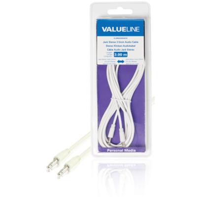 Valueline Jack stereo audiokabel 3.5 mm mannelijk - 3.5 mm mannelijk wit 3.00 m