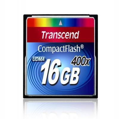Transcend flashgeheugen: 400x CompactFlash Card, 16GB - Zwart